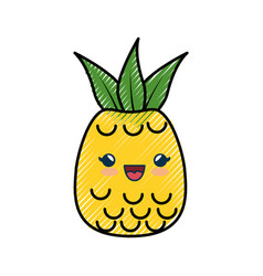 Pineapple fruit cartoon smiley vector