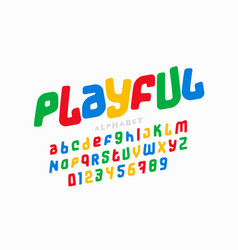 Playful colorful font vector