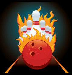 Poster ball and pin for bowling vector