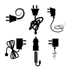 Power cables over white background vector