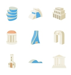 Residence icons set cartoon style vector