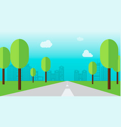 road through a city with tree and flat style vector image
