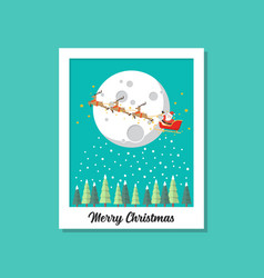 santa sleigh flying over moon image on vector image