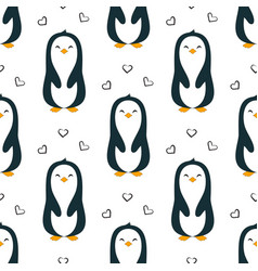 seamless pattern penguin isolated valentine day vector image