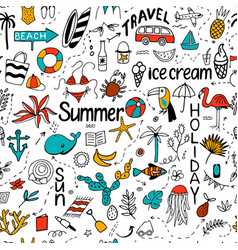 seamless pattern with summer set of isolated cute vector image