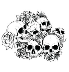 Seamless skulls in vector