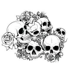 Seamless skulls vector