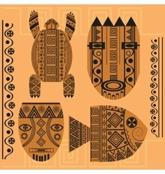 Set decorative mask fish turtle african vector