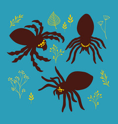 Set of broub spiders in retro drawing stile vector