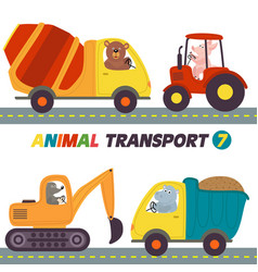 set of isolated transports with animals part 7 vector image