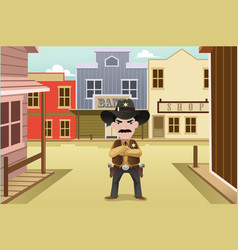 sheriff standing on an old western town vector image