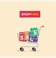 shopping cart shopping sale bag background vector image