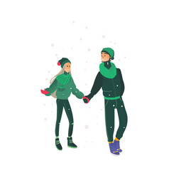 sketch lovers hugging walking at winter vector image