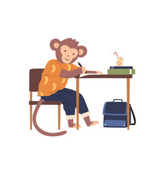 smart monkey in clothes sit at desk while vector image