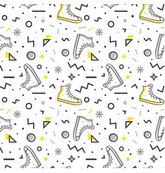 sneakers seamless pattern in memphis style vector image