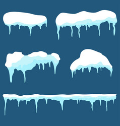 Snow cap ice cap set snowdrifts and icicles vector