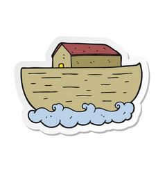 Sticker of a cartoon noahs ark vector