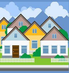Street of suburban town - rows of country houses vector