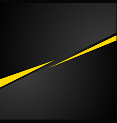 Tech black background with contrast yellow stripes vector image