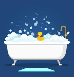 Vintage bath and soap foam bubbles vector