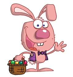 Waving Pink Bunny With Easter Eggs vector image vector image