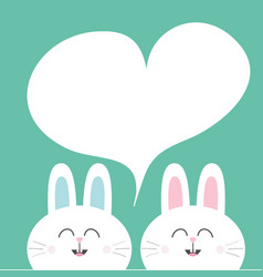 white bunny rabbit with long ears heart frame vector image
