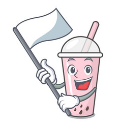 With flag raspberry bubble tea character cartoon vector