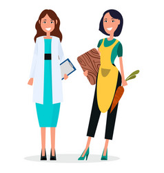 woman doctor and housewife isolated on white vector image