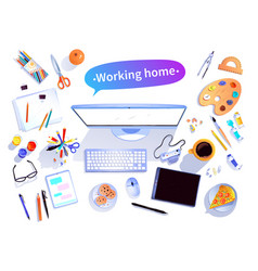 Working home concept vector