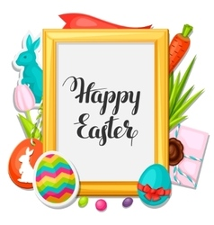 Happy Easter photo frame with decorative objects vector image vector image