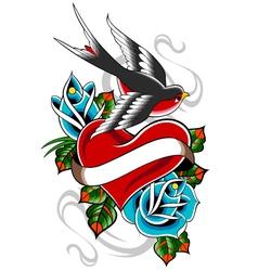 heart tattoo emblem vector image vector image
