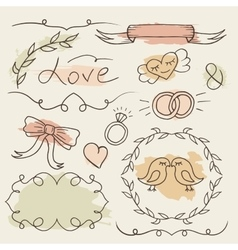 Rustic wedding set hand drawn elements vector image vector image
