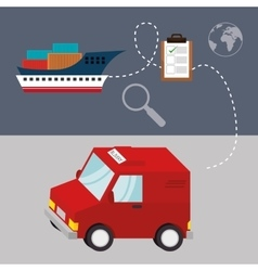 delivery cargo truck and ship vector image vector image