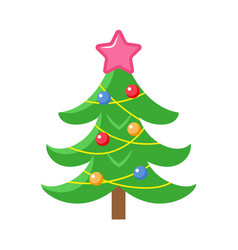 flat style decorated christmas tree icon vector image vector image