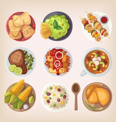 Mexican food icons vector image vector image