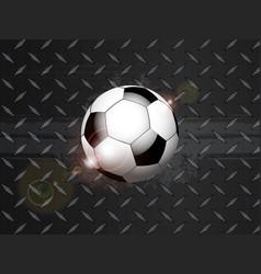 soccer football grunge on black metallic plate vector image vector image