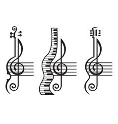 violin guitar piano and treble clef vector image