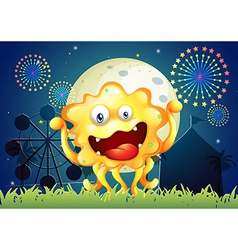 An orange monster at the carnival vector image vector image