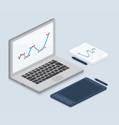 cartooned laptop and tablet computers for work vector image vector image