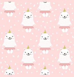 cute seamless pattern with white baby bear vector image
