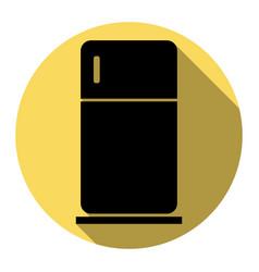refrigerator sign flat black vector image vector image