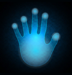 technology cyber security hand palm binary vector image vector image