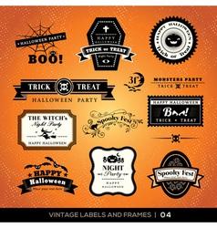 Vintage Halloween labels and frames vector image