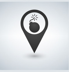 bomb map pointer icon vector image vector image