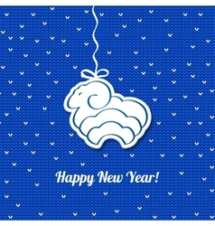Christmas blue card with sheep background vector image vector image