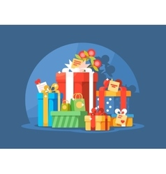 Heap of gift boxes vector image vector image