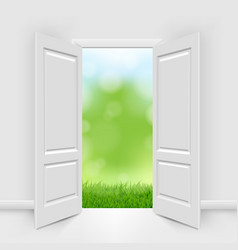 opened doors with blue sky and greeen grass vector image