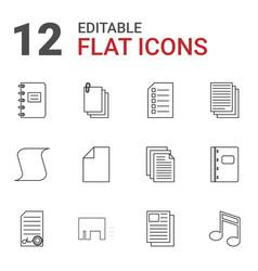 12 sheet icons vector image
