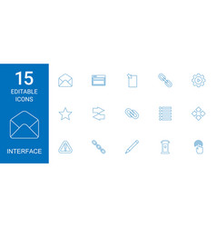 15 interface icons vector