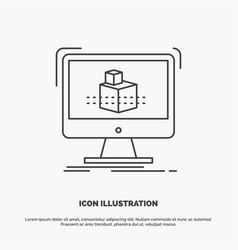 3d cube dimensional modelling sketch icon line vector image